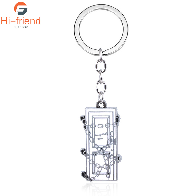 Horror Movie Game Silent Hill Keychain Game Poster Blockade Chain Link Necklace Metal Keychain Keyrings Gift Jewelry for Mens image