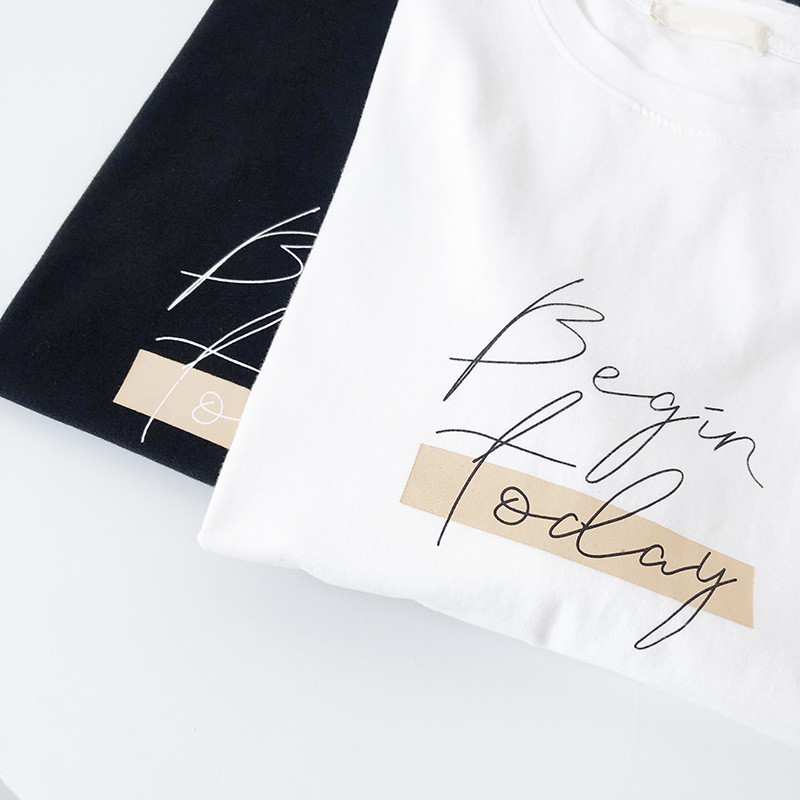 H543ed3e581254552b05448439b8219dal - Letter Women T-Shirt O Neck Short Sleeve Loose Casual Pure Cotton Girls Spring Thick Pullovers Femme Fashion Clothings