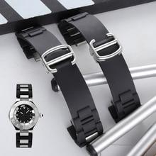 20*10MM (buckle 18mm) Watch Band Silicone Strap For Cartier-Watch 21 Chronoscaph W10198U2 W10125U2 W10197U2 W10184U2 Rubber