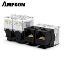 CAT6/CAT5e Tool Less Keystone Jack,AMPCOM RJ45 UTP Keystone Module Adapter No Punch Down Tool Required Couplers 1/2/10 Pack