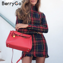 BerryGo, элегантное, офисное, женское, клетчатое, зимнее платье,, длинный рукав, стоячий воротник, толстое, теплое, с кисточками, платье, модное, тонкое, женское, vestido