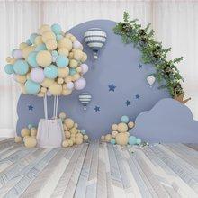 Laeacco balões de ar quente para festas, balões de fundo de fotografia, chamada de fundo de foto, retrato de madeira para recém-nascidos