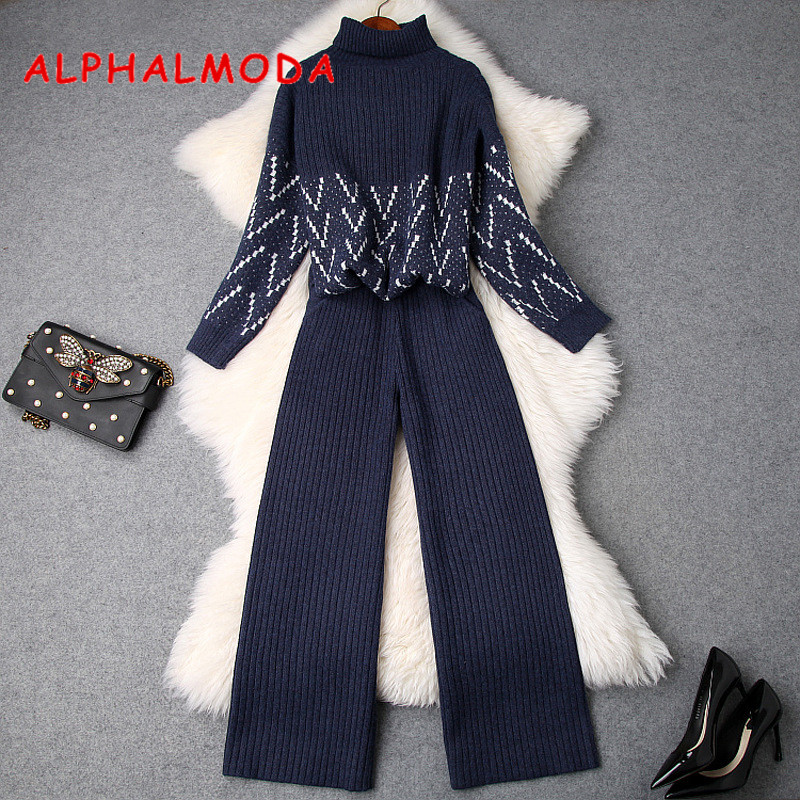ALPHALMODA 2019 Winter Turtle Neck Pullovers Loose Knitting Sweater + Wide-leg Knit Pants Women 2pcs Casual Suit Black Blue