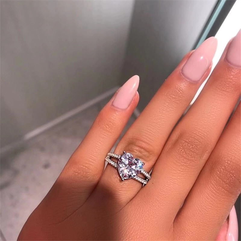 FFLACELL High Quality Luxury Hearts Cubic Zircon Wedding Engagement Rings For Women Fashion Jewelry Bague Femme