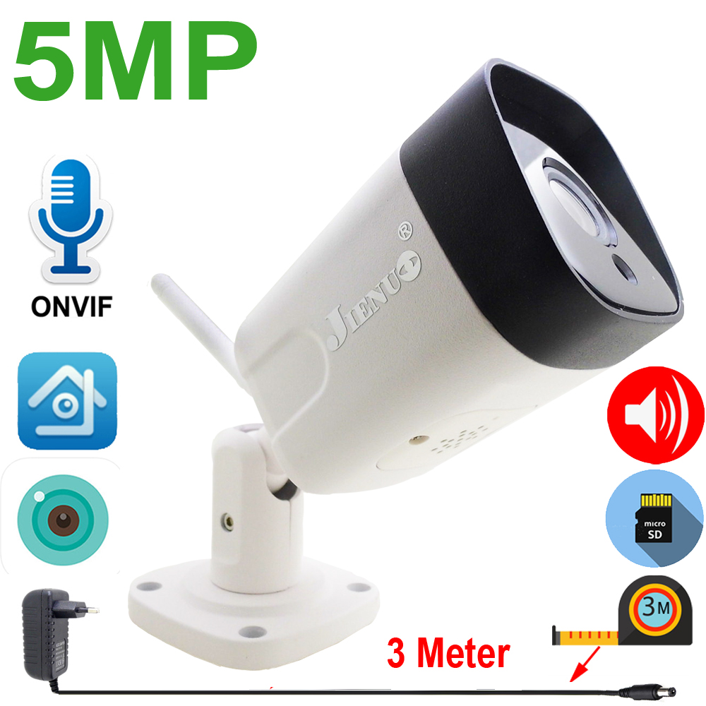 JIENUO 5MP IP Camera Wireless 64G Cctv Security Cam Two-Way Audio Home Surveillance Outdoor Waterproof Night Vision Wifi Xmeye