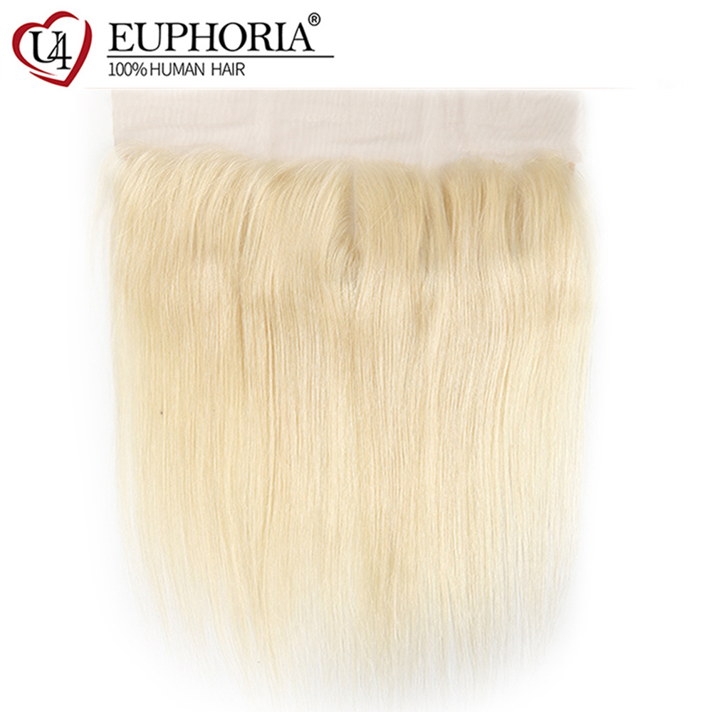 Brazilian Straight Human Hair Lace Frontal 13x4inch Euphoria Blonde 613 Hair Closures 100% Remy Human Hair Frontal Ear To Ear image
