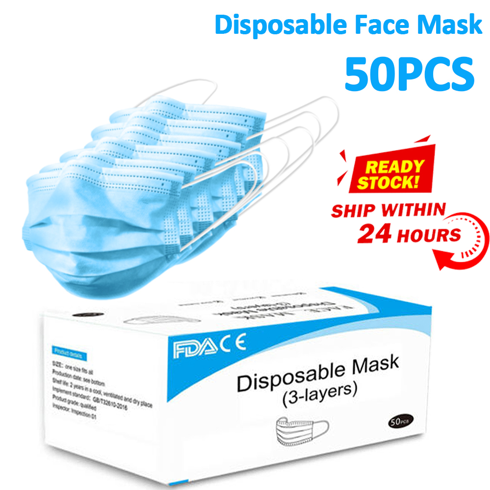 50pcs Mouth Mask Nonwove Disposable Earloop Masks Anti-Dust Anti Influenza Breathing Safety Face Mask In Stock