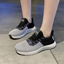 Hot Sale Women White Mesh Flyknit Sneakers Lace-Up Autumn Patchwork Fashion Low Heel Platform Shoes Casual Trainers D0028