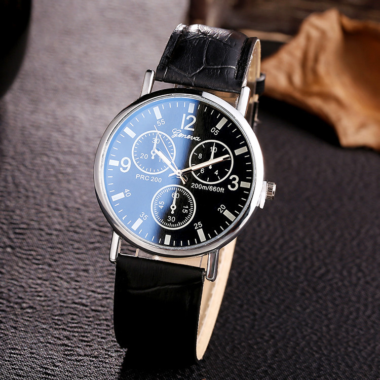 Blu-ray Glass Round Mirror Casual Fashion Unisex Couple Watch