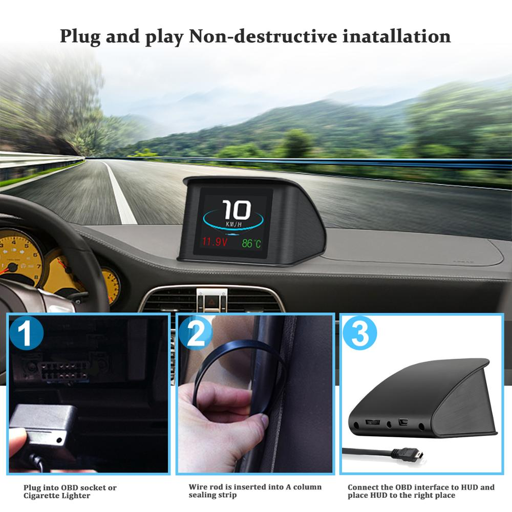VJOYCAR Hud GPS OBD Computer Car Speed Projector Digital Speedometer Display Fuel Consumption Temperature Gauge Diagnostic Tool 4
