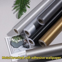 Metal Brushed PVC Waterproof Self-adhesive Wallpaper Cabinet Door Wall Sticker Cabinet Furniture Renovation Home Decoration