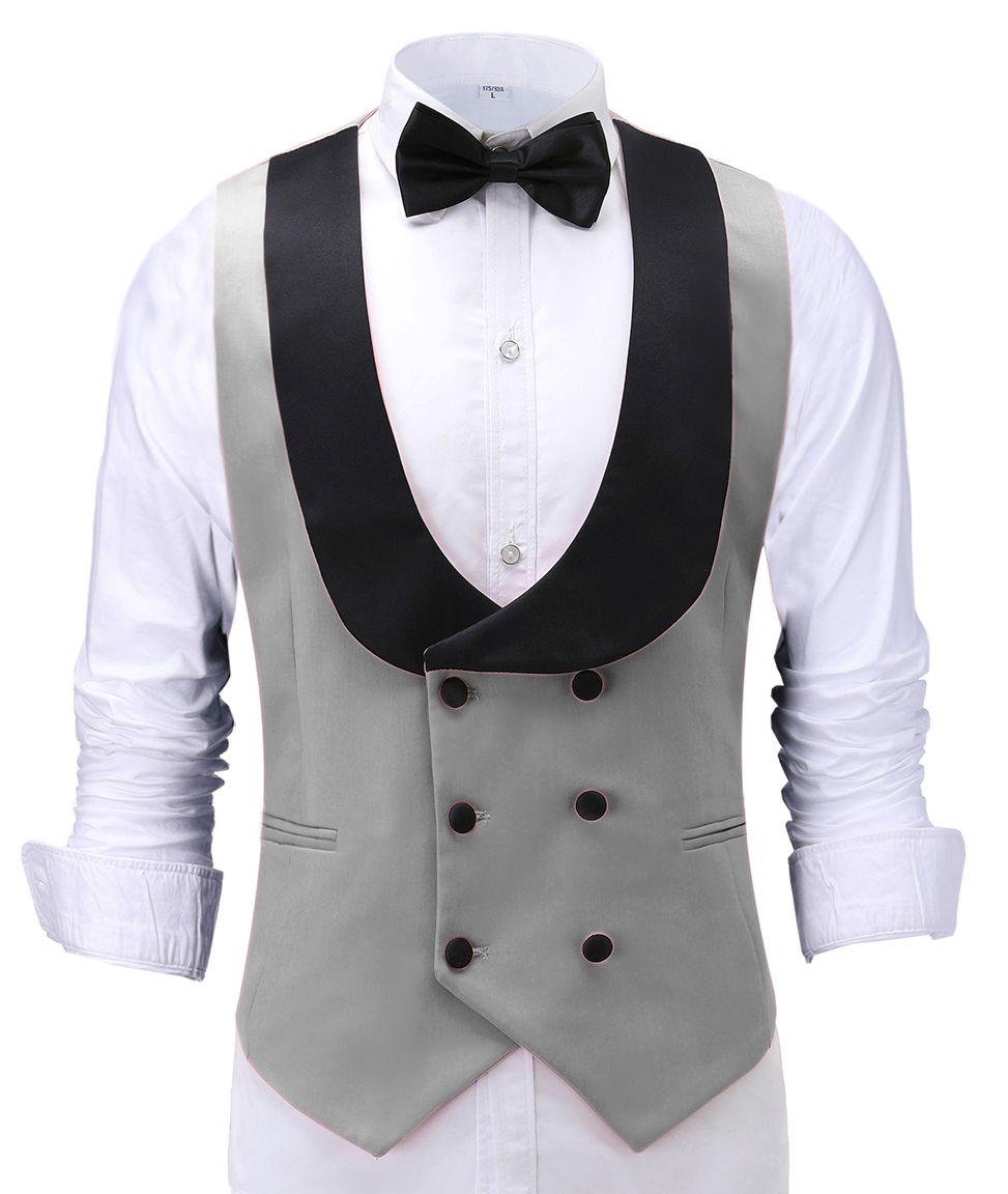 Men's Waistcoat Slim Fit Leisure Cotton Suit Male Gentleman Beckham Business Vest Male Black For Wedding Groomsmen (custom Size)