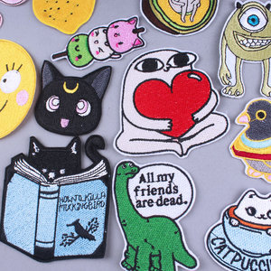 Funny Cartoon Patch Iron On Patches Anmal Embroidered Patches For Clothing Cat Stripe Applique Badge Patches On Clothes Parches
