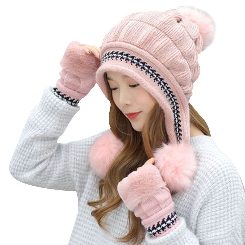 Fashion Women Knitted Hat Gloves Set Xmas Warming Beanie Hat Full Cover Glove Kit For Winter TH36