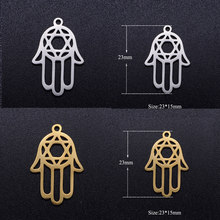 10pcs/lot Hand Star of David Stainless Steel DIY Charms Wholesale Never Rust DIY Pendants for Necklace Making(China)