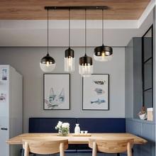 Modern loft 4 paket amber/temizle cam kolye lamba e27 e26 LED restoran salonu bar oturma odası yatak odası aydınlatması