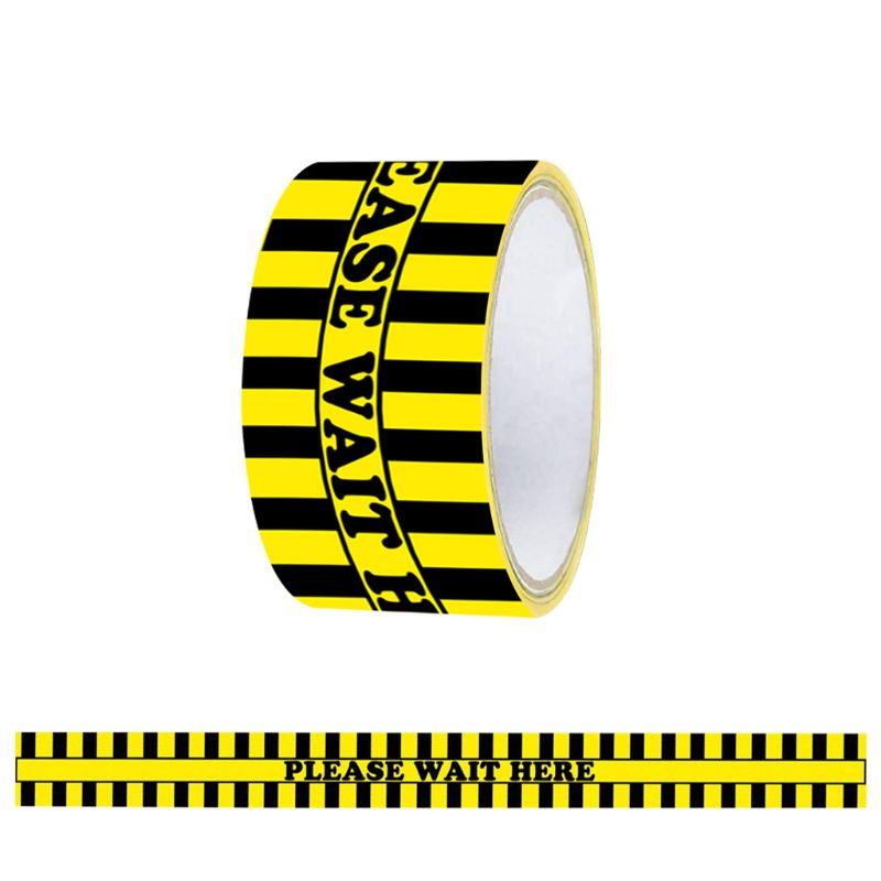 1Roll Please Wait Here Warning Floor Tape Social Distancing Marking Adhesive Tape Yellow 48mm x 33m