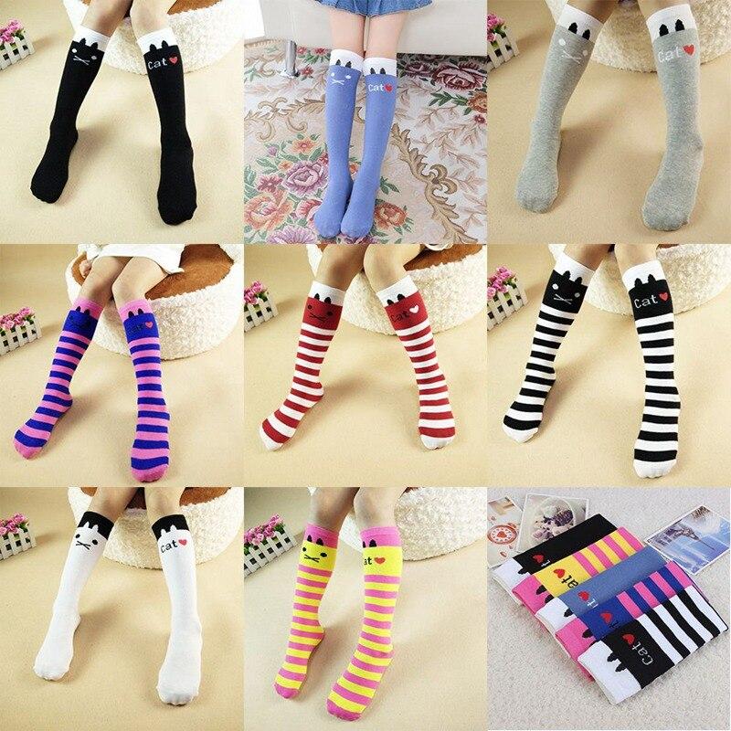 Girls Socks Cotton Girl Long Sock Cartoon Lovely Cat Knee High Socks Toddler Kids Dancing Socks Leg Warmer Long Sock