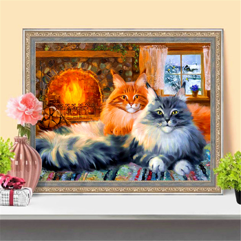 HUACAN Diamond Painting Cross Stitch Cat New Arrival Diamond Mosaic Animal Embroidery Handmade Home