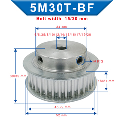 Timing Pulley 5M-30T Bore 6/6.35/8/10/12/12.7/14/15/16/17/19/20 mm Pulley Slot Width 16/21 mm For Width 15/20mm 5M-timing belt