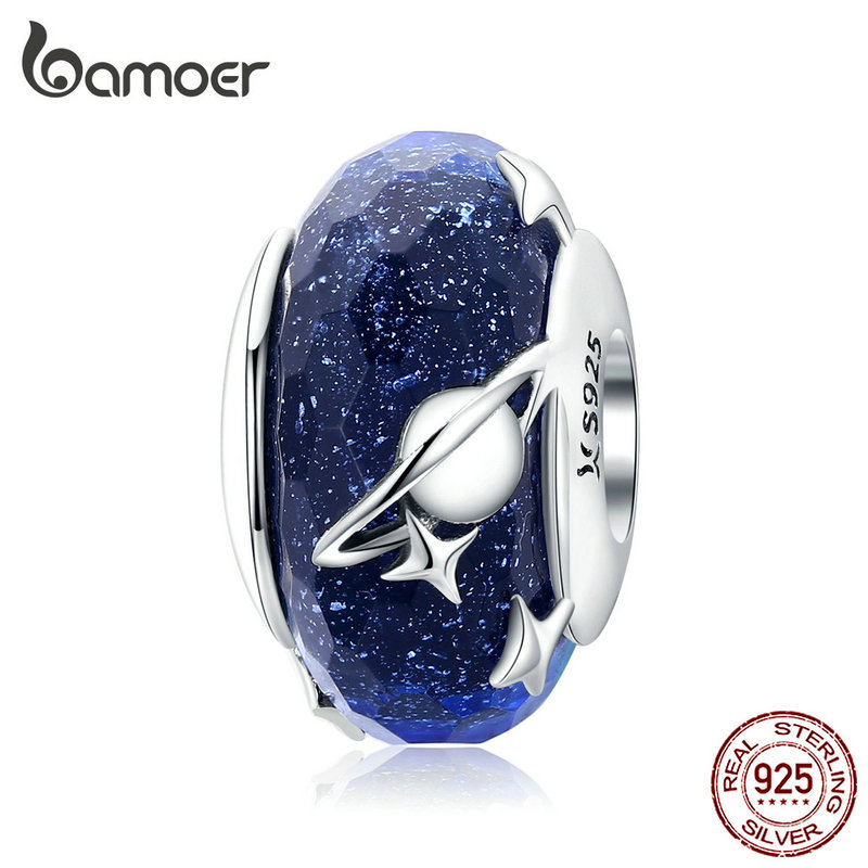 Bamoer Nighty Bracelet Charm Glass-Beads Star Silver 925-Sterling-Silver Galaxy Original