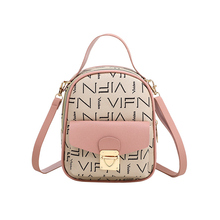 Leather Backpack Color Lock Buckle Retro Letters Casual Wild 2019 Autumn New Womens Bag