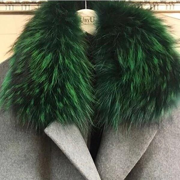 Женский шарф теплый подарок из меха енота ожерелья для куртки шарфы Banand Schal теплый натуральный зимний меховой шарф для женщин - Цвет: green-2