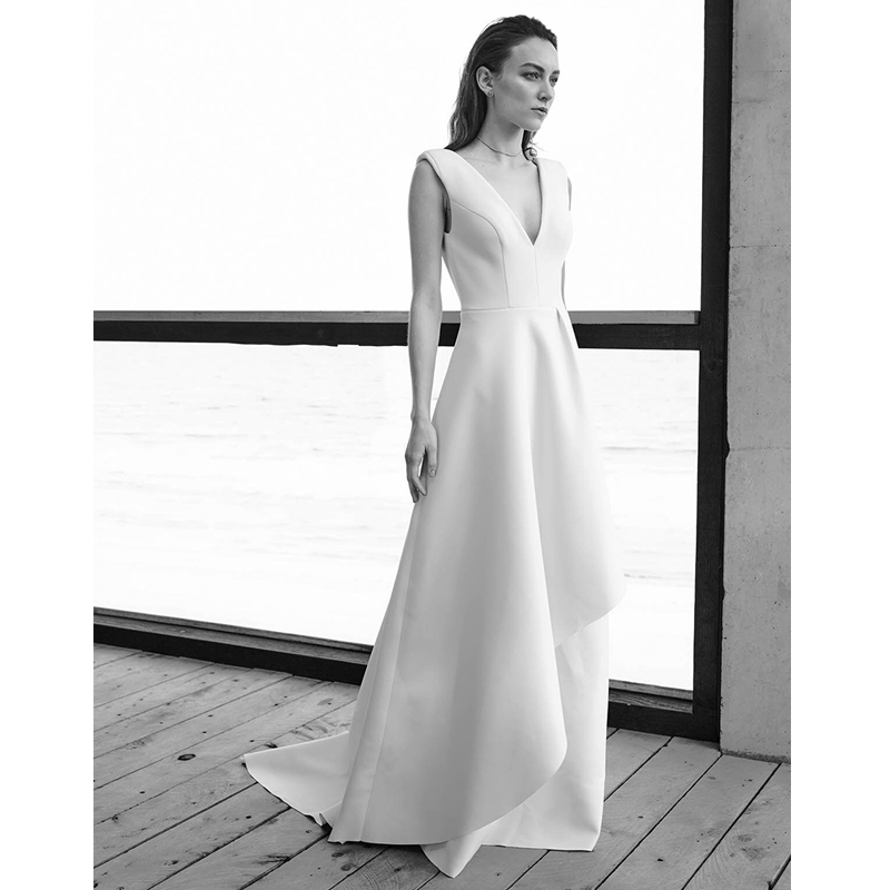 Verngo A Line Wedding Dress Stain Simple Bride Dresses 2020 Backless Wedding Gowns Sleeveless Vestido De Noiva