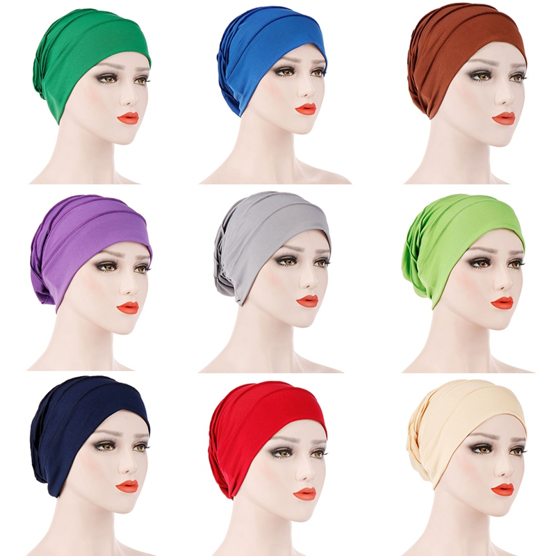 Muslim Women Hijsbs Cancer Elastic Hat Hair Loss Cap Chemo Turban Cover Headwear Beanie