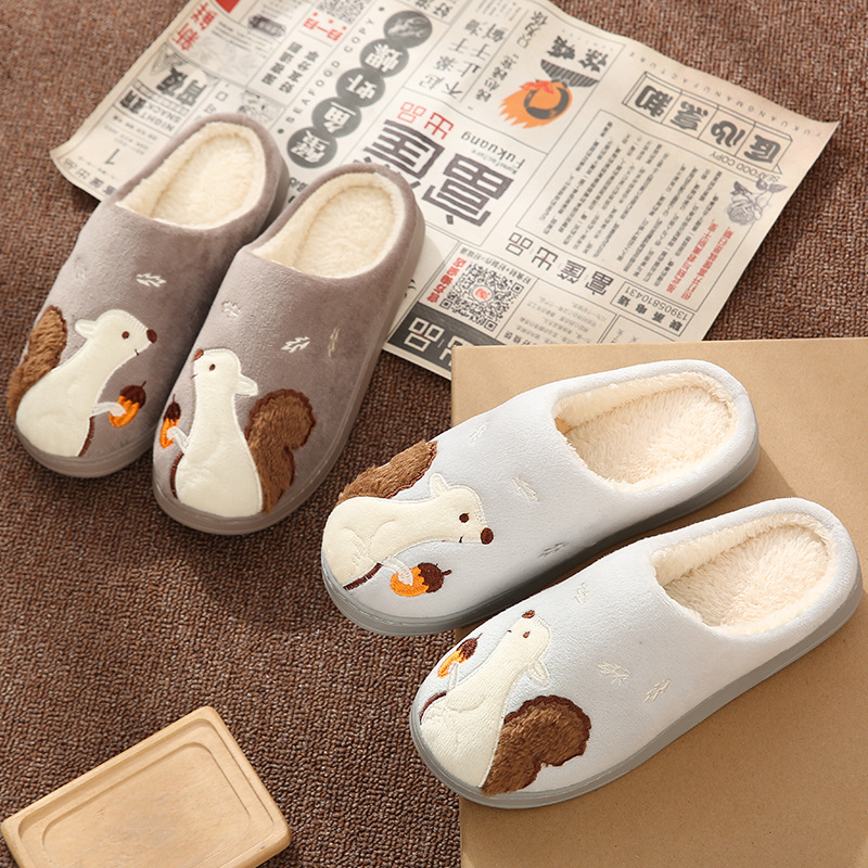 Cute Squirrel Women Winter Home Slippers Cartoon Animal Soft Winter Warm House Shoes Men Women Girl Boys Indoor Bedroom Slippers 3