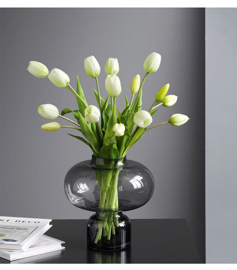 JAROWN 5 Heads Tulip Artificial Flower Real Touch Artificial Bouquet Fake Flower for Wedding Decoration Flowers Home Garden Decor (117)