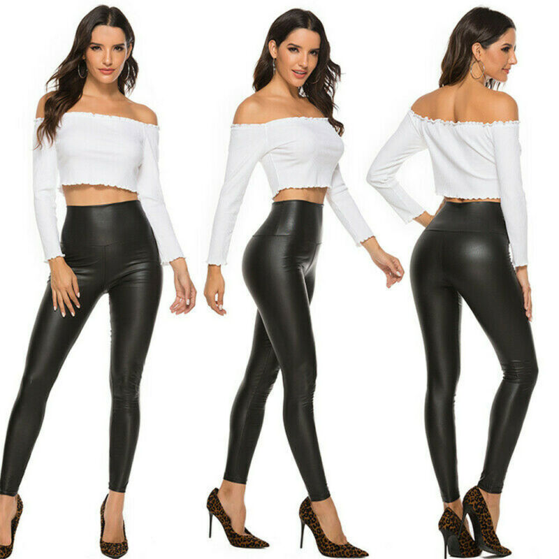 Summer Black Faux Leather Leggings For Women High Waist Skinny Push Up Leggings Sexy Elastic Trousers Ladies Stretch Leggings 3