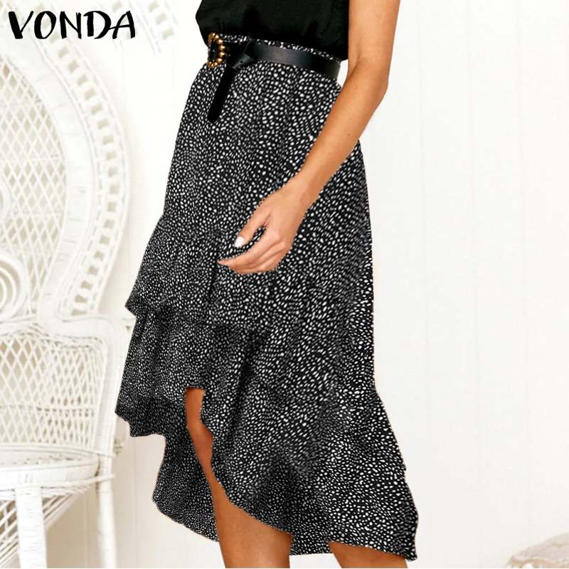 Summer Women Casual Elastic Waist Polka Dot Irregular Hem Midi Skirts VONDA 2020 Holiday Beach Chiffon Skirt Plus Size S-5XL