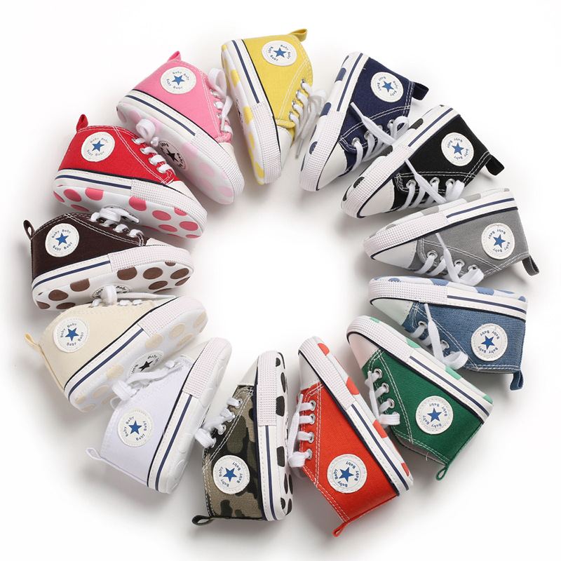 Newborn Baby Boy Girl Shoes Solid Sneaker Bling White Canvas Cotton Soft Anti-Slip Sole Infant First Walkers Crib Shoes