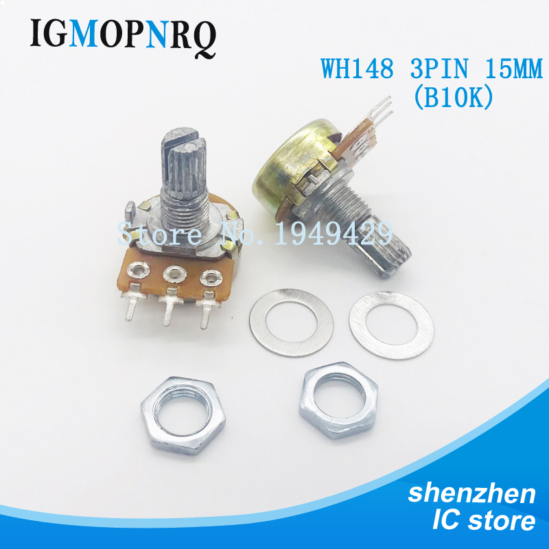 5PCS/LOT WH148 B10K Potentiometer 15mm Shaft With Nuts And Washers Hot 3Pin High Quality