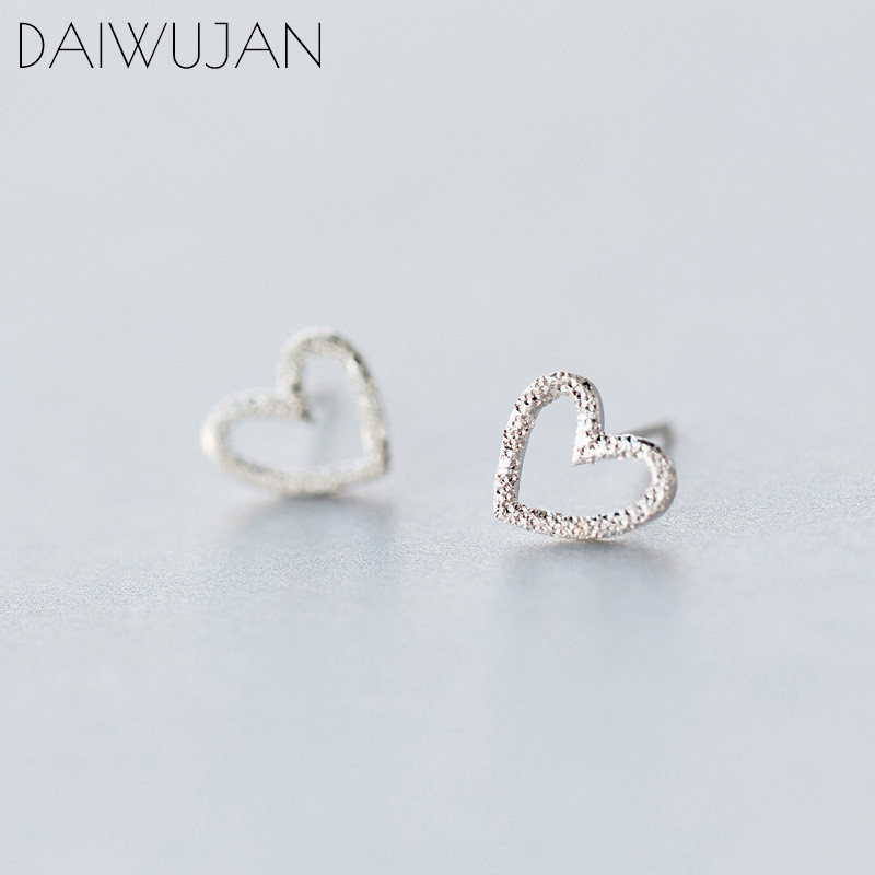 DAIWUJAN Real 925 Sterling Silver MInimalist Hollow Heart Love Cute Stud Earrings For Women Girl Party Jewelry Female Gift