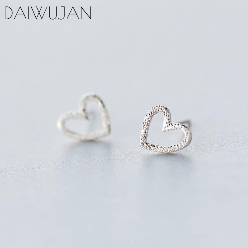 DAIWUJAN Real 925 Sterling Silver MInimalist Hollow Heart Love Cute Stud Earrings For Women Girl Party Jewelry Female Gift