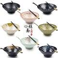 Japonês macarrão lamian ramen sopa tigela schopsticks colher terno plástico melamina utensílios de mesa conjunto picante panela quente restaurante uso 2 conjuntos