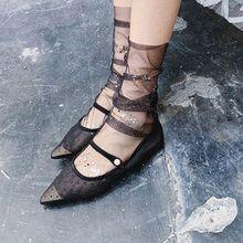 Women Girls Candy Color Glitter Sequin Socks Lady Fishnet Mesh Transparent Bright Chiffon Tulle Pile Sock
