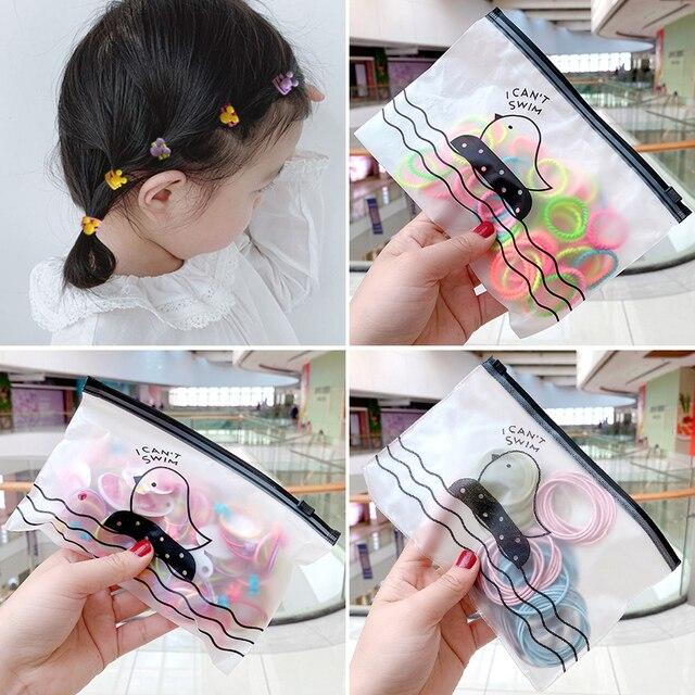 50/100/200 Pcs/Bag Children Cute Candy Cartoon Solid Elastic Hair Bands Girls Lovely Srunchies Rubber Bands Kid Hair Accessories 1