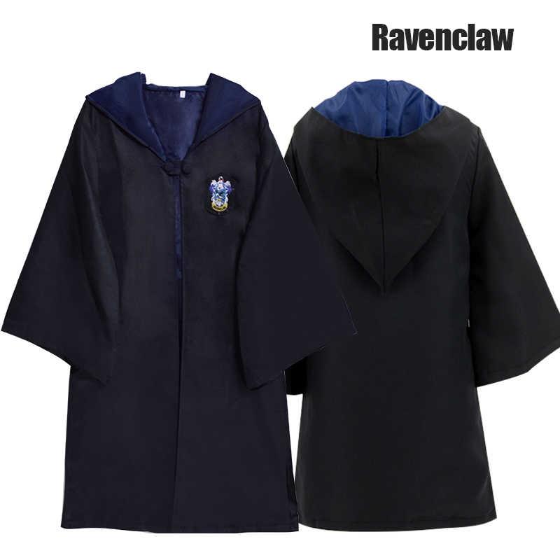 Gryffindor เครื่องแต่งกายเด็กผู้ใหญ่ Robe Potter ชุดคอสเพลย์ Ravenclaw Hufflepuff Slytherin Cape เสื้อคลุมคริสต์มาสของขวัญ E2103AD