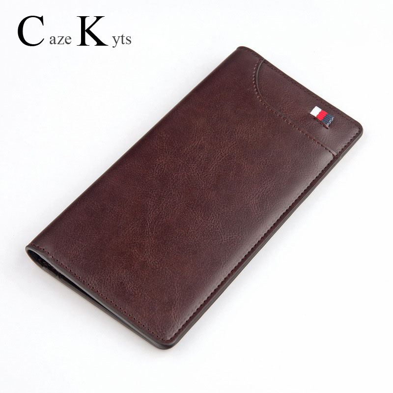 New Men's Long Wallet European And American Retro Fashion Oil Wax Leather Casual Ribbon Wallet