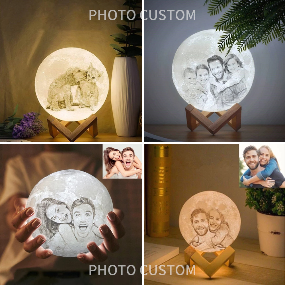 Photo Custom Personality 3D Print Moon Night Light Lamp Lunar USB Rechargeable Touch Remote Controller 16 Color Change Moonlight