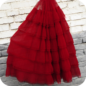 1 piece (70x50cm) 6 Layers Ruffled Tulle Lace Fabric Soft Mesh Pleated Tutu Dress Fabric 8 Colors Ruffle Fabric DIY Clothing Dec