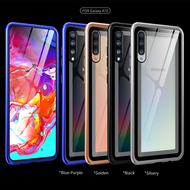 Privacy Tempered Glass Metal Case For <font><b>Samsung</b></font> Galaxy A10 A20 A30 A40 <font><b>A50</b></font> A60 A70 Ultra Thin Alloy Frame <font><b>Back</b></font> <font><b>Cover</b></font> For A70 <font><b>A50</b></font> image