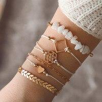 6 pezzi/set Punk bracciale da donna in lega di metallo Set moda bracciale multistrato regolabile accessori gioielli bohémien
