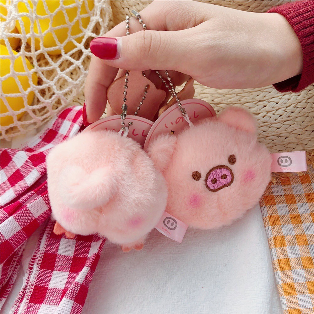 2020 New Fashion Cute Pig Keychain Cartoon Animal Pvc Pig Key Chain Heart Sound Keychain Llavero Pompon Keyring Gift