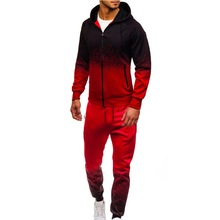 WENYUJH 2019 Mens Tracksuit Jogging Top Sportswear Suits Gradient Color Hoodies Hip Hop Harajuku Streetwear Zipper
