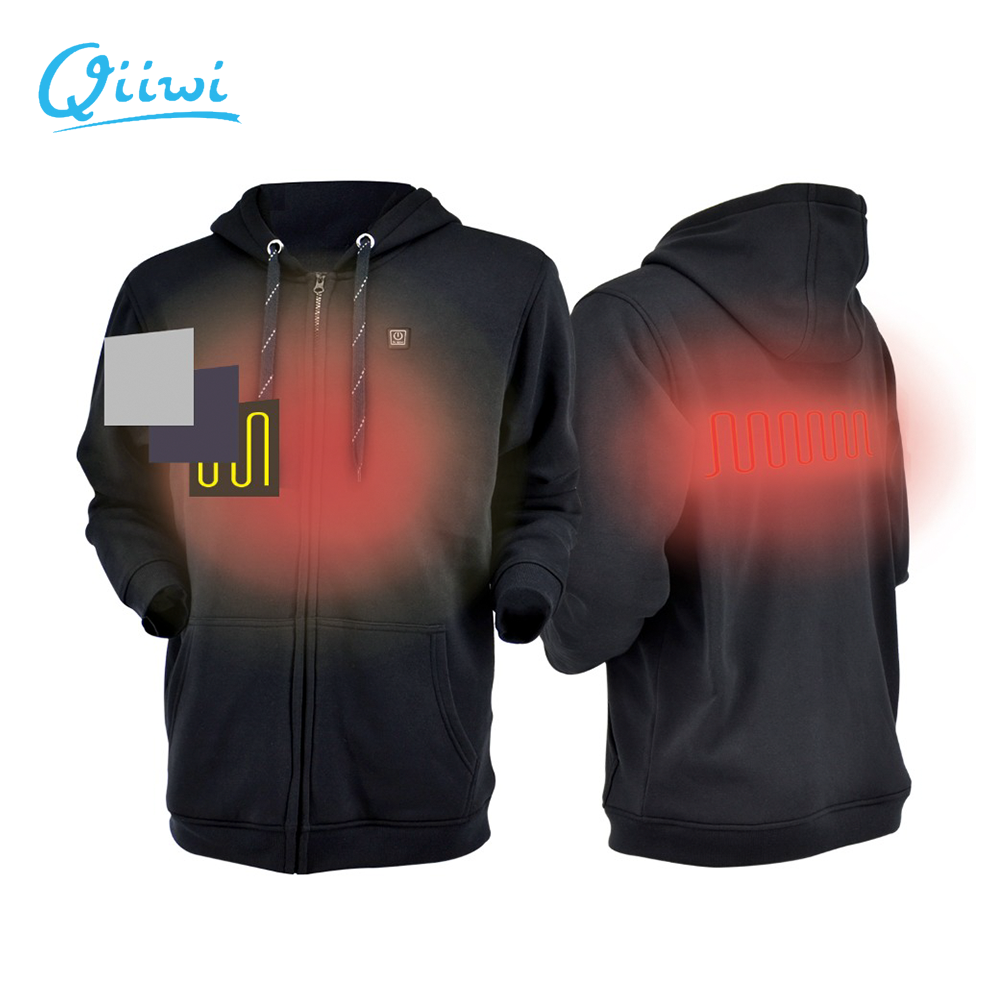 Dr.Qiiwi Men And Women Outdoor Heated Hoodie Soft Lightweight Heating Hooded Jacket Coat For Cold Weather Quick-Heating System