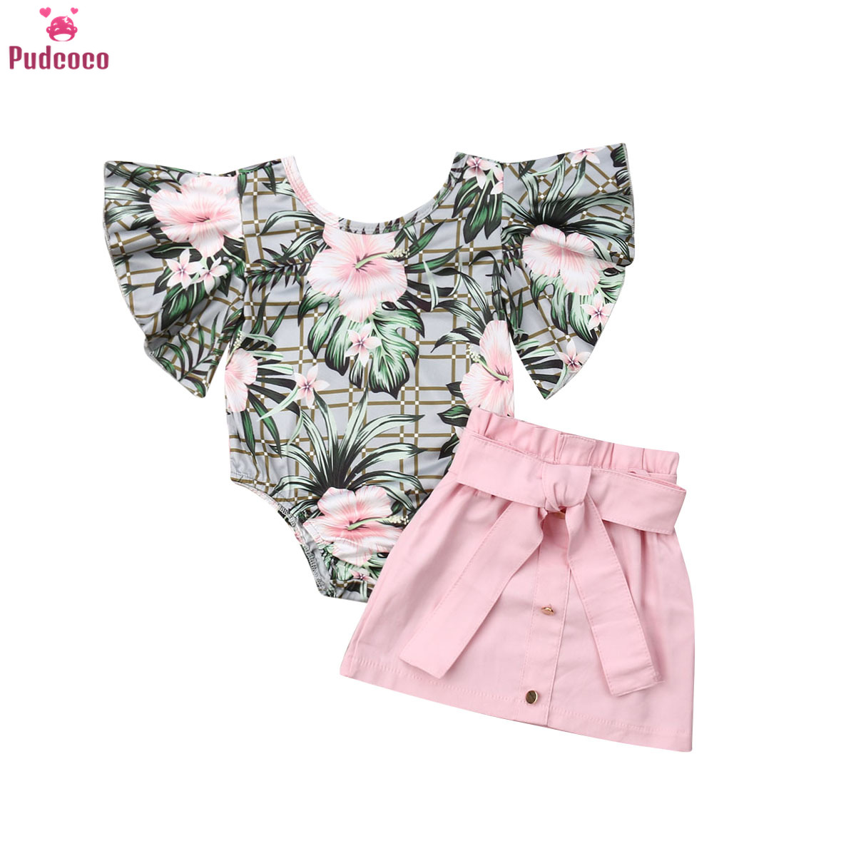 1-4 Years Infant Toddler Baby Girl Clothes Set Flower Printed Short Sleeve Romper Tops + Pink Mini Skirt Summer Clothes Outfits